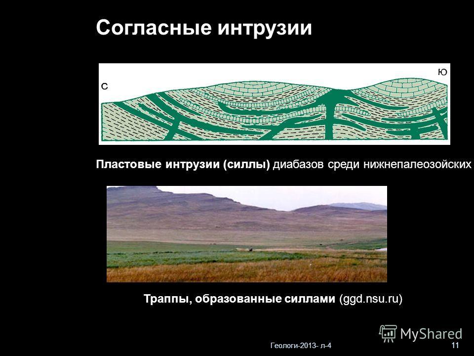 Геологи-2013- л-4 11 Пластовые интрузии (силлы) диабазов среди нижнепалеозойских отложений близ г. Прага (по В.В.Белоусову) Траппы, образованные силлами (ggd.nsu.ru) Согласные интрузии