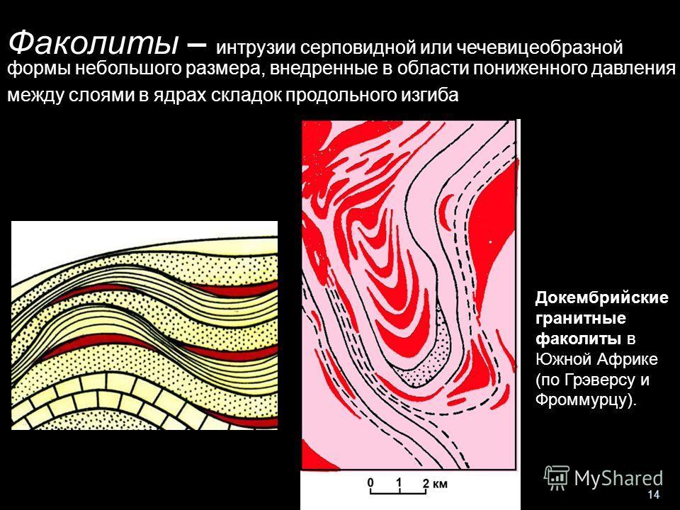 Геологи-2013- л-4 14 Факолиты – интрузии серповидной или чечевицеобразной формы небольшого размера, внедренные в области пониженного давления между слоями в ядрах складок продольного изгиба Докембрийские гранитные факолиты в Южной Африке (по Грэверсу
