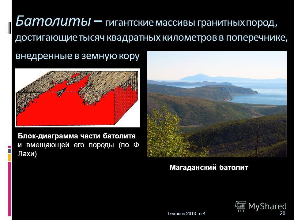 Геологи-2013- л-4 20 Батолиты – гигантские массивы гранитных пород, достигающие тысяч квадратных километров в поперечнике, внедренные в земную кору Магаданский батолит Блок-диаграмма части батолита и вмещающей его породы (по Ф. Лахи)