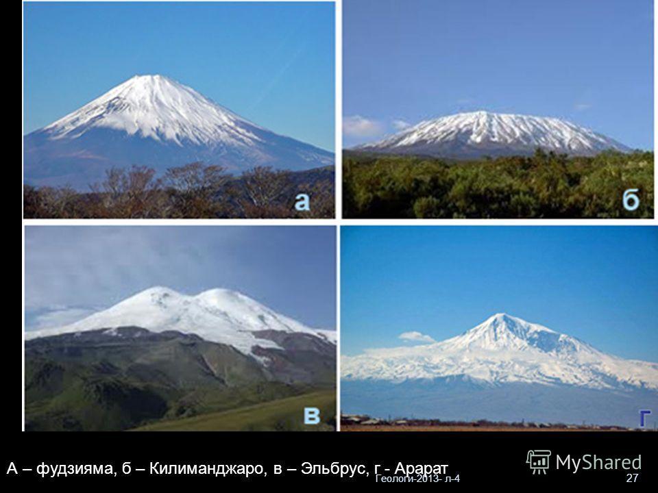 Геологи-2013- л-4 27 А – фудзияма, б – Килиманджаро, в – Эльбрус, г - Арарат
