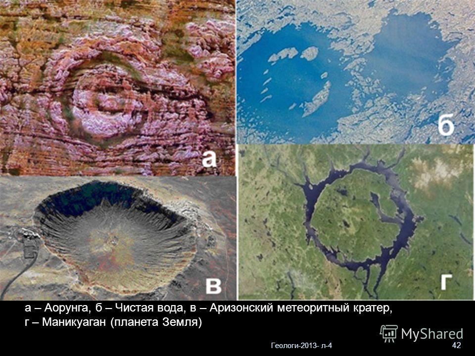Геологи-2013- л-4 42 а – Аорунга, б – Чистая вода, в – Аризонский метеоритный кратер, г – Маникуаган (планета Земля)