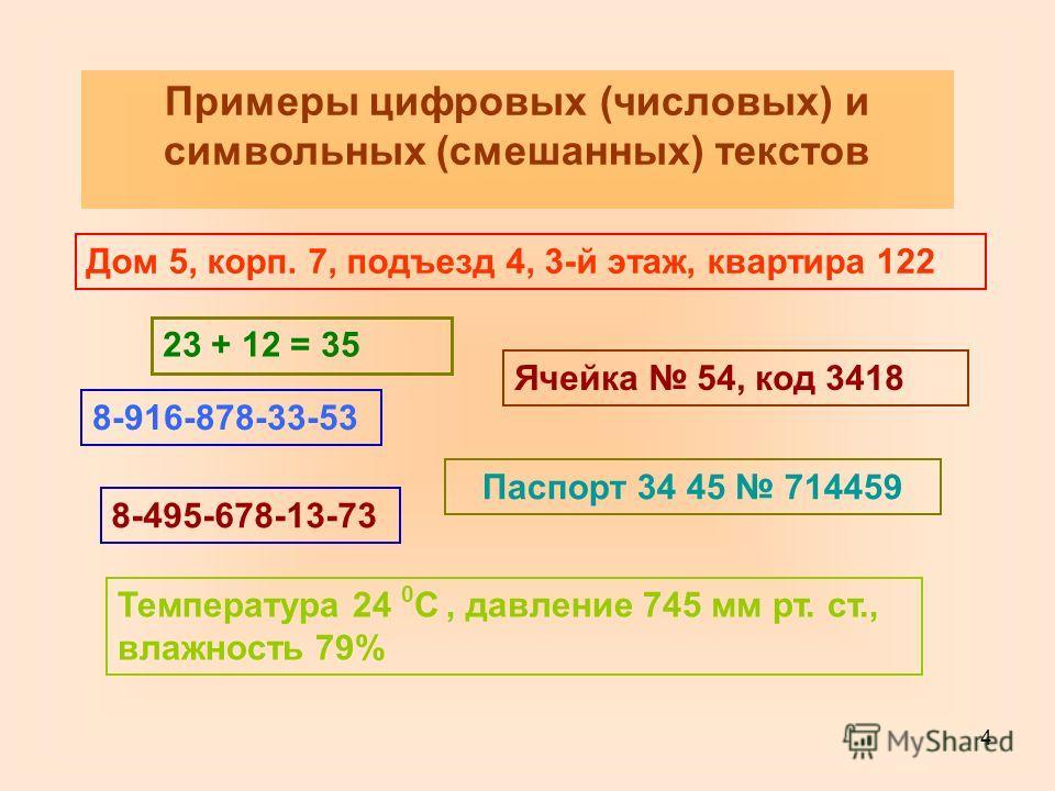 4 Примеры цифровых (числовых) и символьных (смешанных) текстов Дом 5, корп. 7, подъезд 4, 3-й этаж, квартира 122 Температура 24 0 С, давление 745 мм рт. ст., влажность 79% 23 + 12 = 35 8-916-878-33-53 8-495-678-13-73 Ячейка 54, код 3418 Паспорт 34 45
