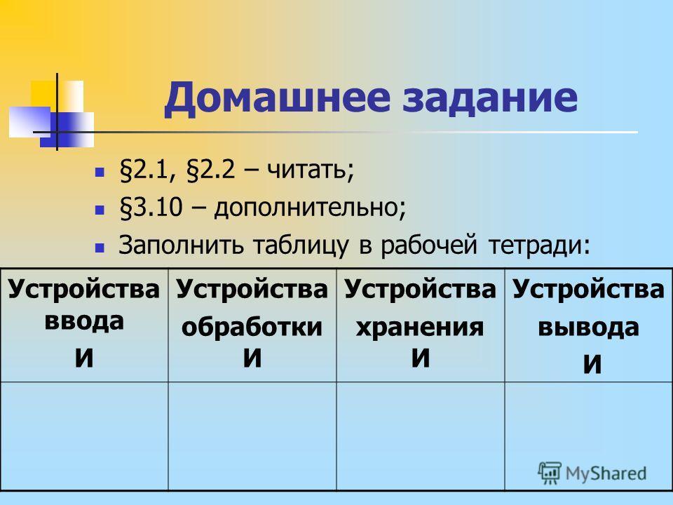 Домашнее задание §2.1, §2.2 – читать; §3.10 – дополнительно; Заполнить таблицу в рабочей тетради: Устройства ввода И Устройства обработки И Устройства хранения И Устройства вывода И