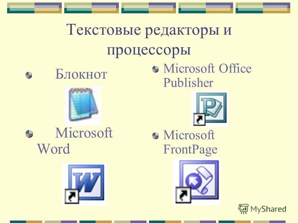Текстовые редакторы и процессоры Блокнот Microsoft Word Microsoft Office Publisher Microsoft FrontPage