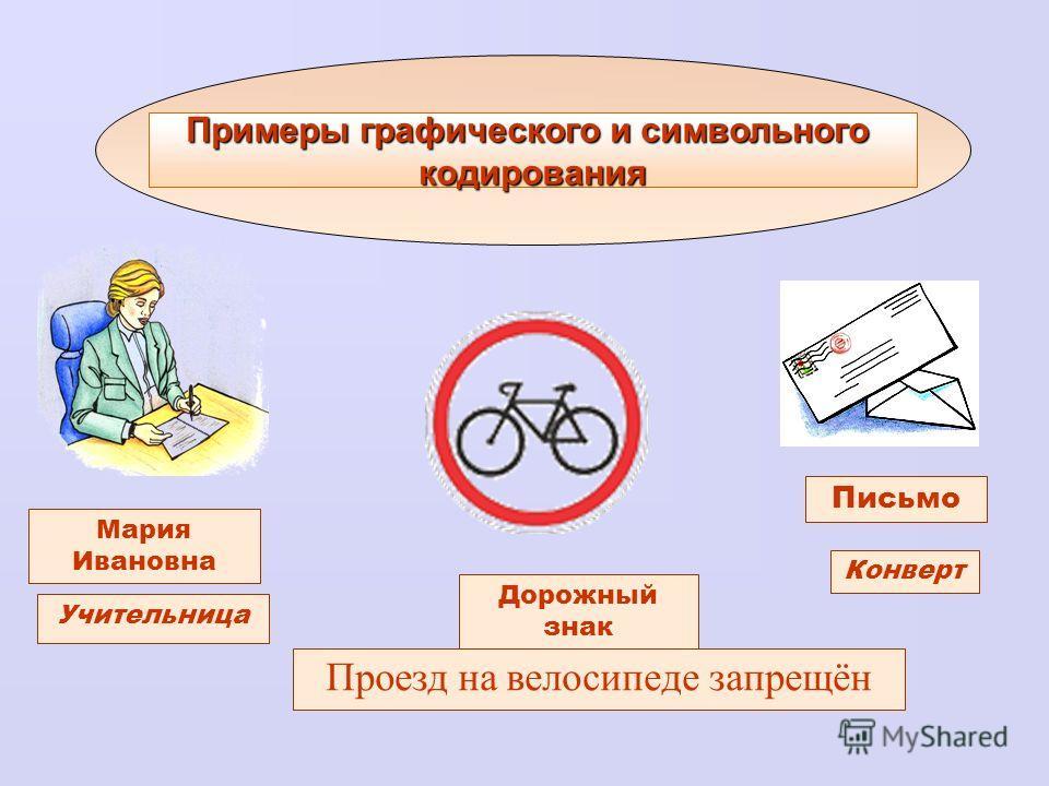 Примеры графического и символьного кодирования Учительница Письмо Конверт Мария Ивановна Дорожный знак Проезд на велосипеде запрещён
