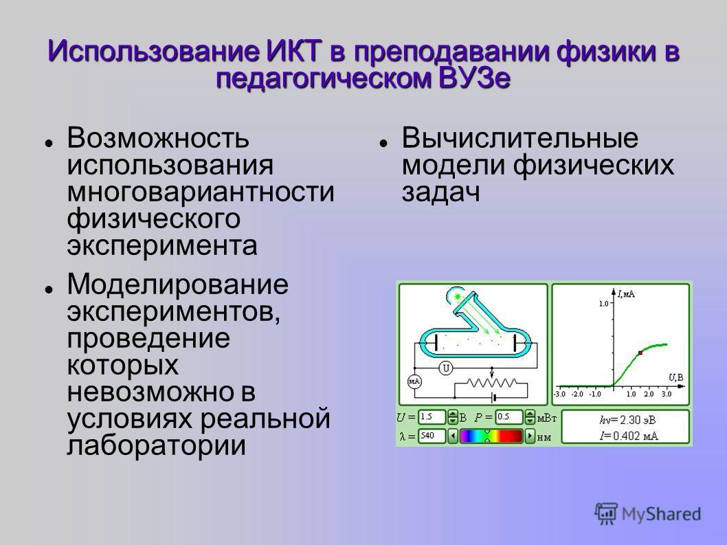 Использование ИКТ в преподавании физики в педагогическом ВУЗе Возможность использования многовариантности физического эксперимента Моделирование экспериментов, проведение которых невозможно в условиях реальной лаборатории Вычислительные модели физиче