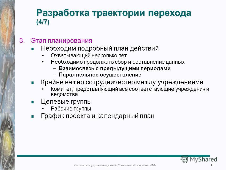 Разработка траектории перехода (4/7) 3.Этап планирования Необходим подробный план действий Охватывающий несколько лет Необходимо продолжать сбор и составление данных –Взаимосвязь с предыдущими периодами –Параллельное осуществление Крайне важно сотруд