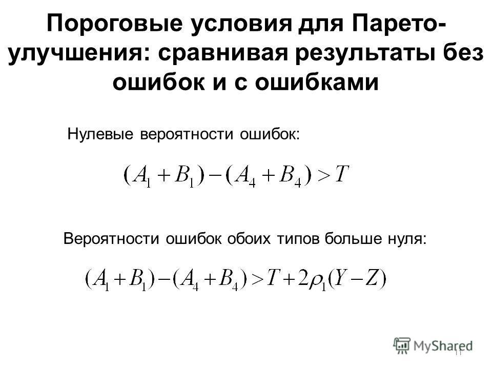 Пороговые условия для Парето- улучшения: сравнивая результаты без ошибок и с ошибками Нулевые вероятности ошибок: Вероятности ошибок обоих типов больше нуля: 11