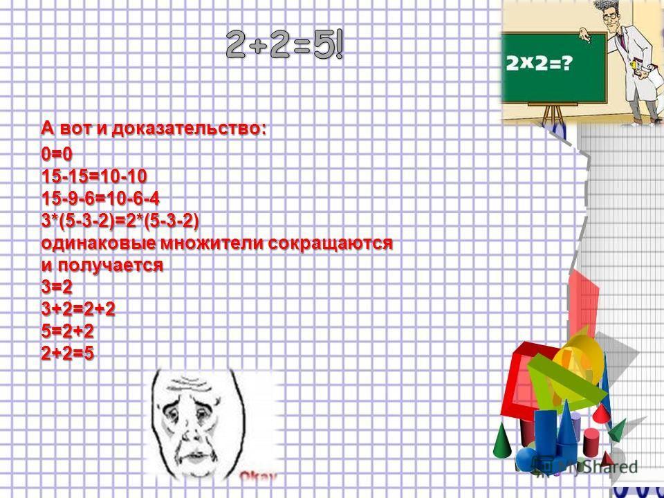 А вот и доказательство: 0=0 15-15=10-10 15-9-6=10-6-4 3*(5-3-2)=2*(5-3-2) одинаковые множители сокращаются и получается 3=2 3+2=2+2 5=2+2 2+2=5