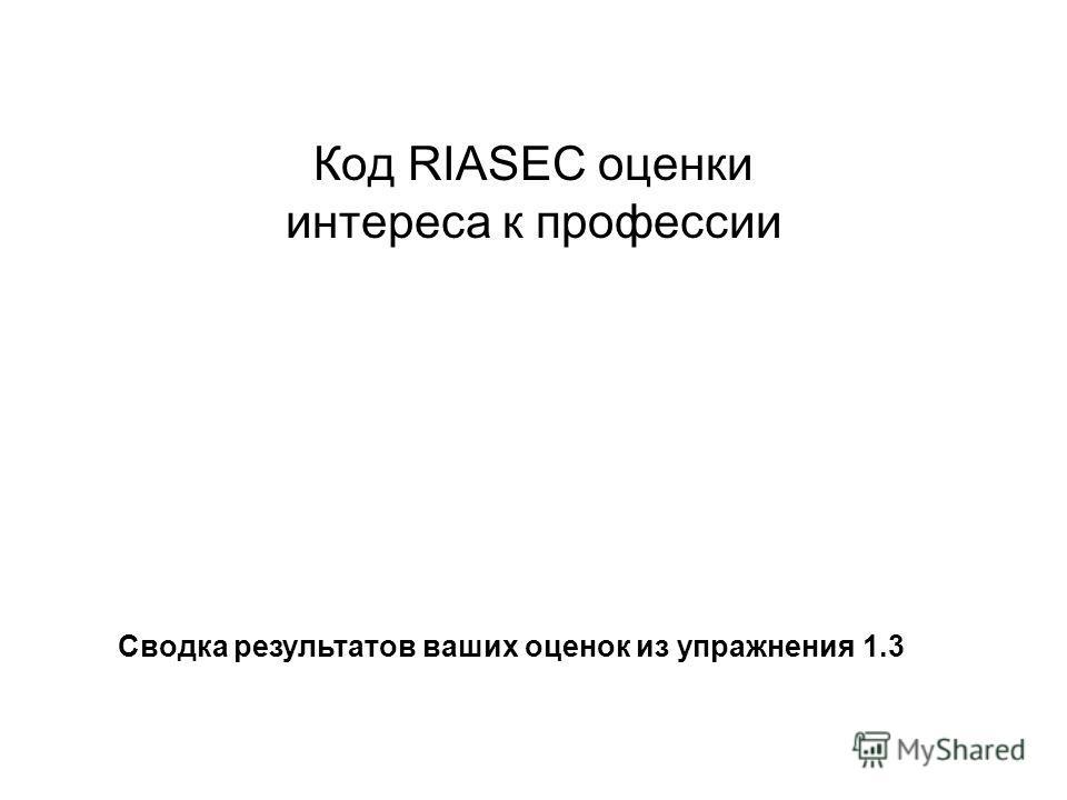 Код RIASEC оценки интереса к профессии Сводка результатов ваших оценок из упражнения 1.3