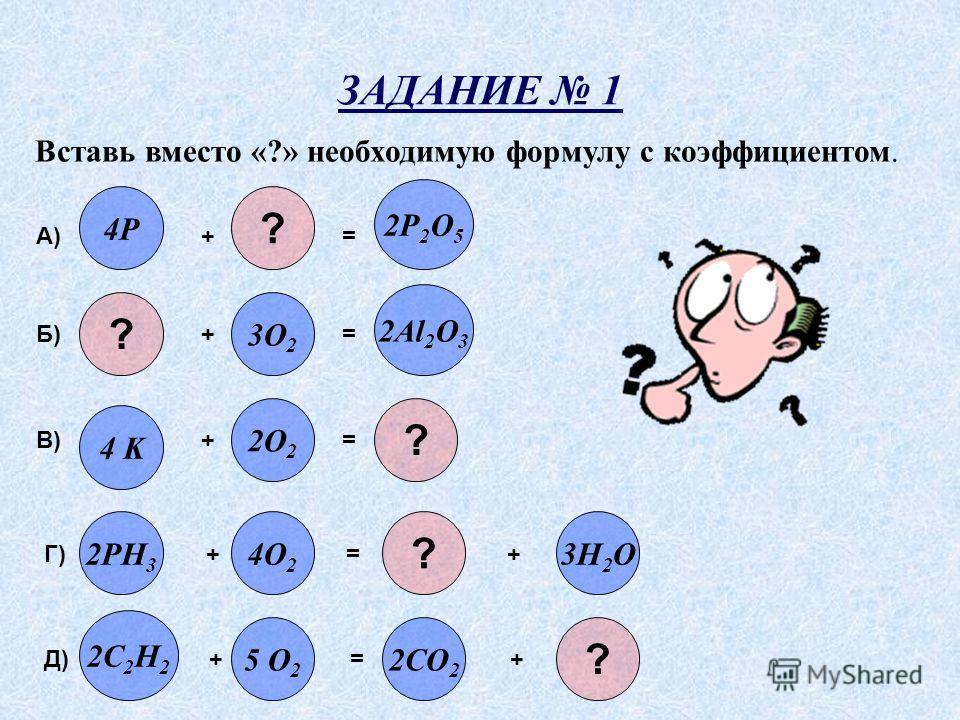 ЗАДАНИЕ 1 Вставь вместо «?» необходимую формулу с коэффициентом. ? 2P 2 O 5 ? 4P 2Al 2 O 3 3O 2 2C 2 H 2 2CO 2 5 O 2 3H 2 O2PH 3 4O 2 2O 2 ? 4 K А) + = Б) + = В) + = Г) + = + Д) + = + ? ?