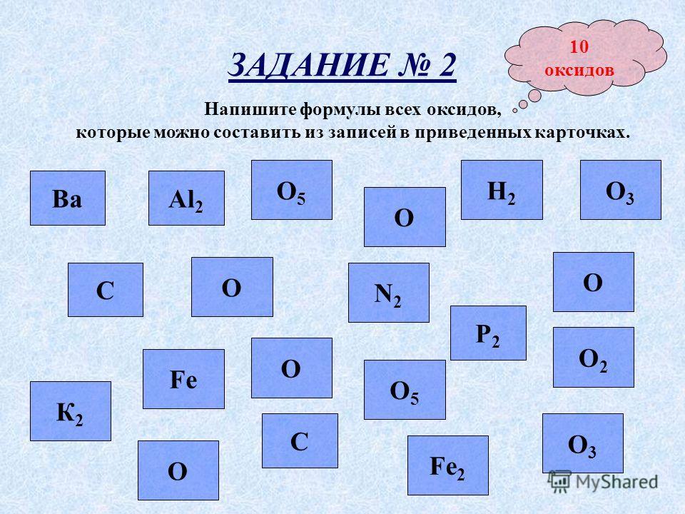 ЗАДАНИЕ 2 Напишите формулы всех оксидов, которые можно составить из записей в приведенных карточках. Ва О С О2О2 О О5О5 Р2Р2 С О Н2Н2 К2К2 О Al 2 О3О3 О5О5 N2N2 Fe 2 О3О3 О Fe 10 оксидов