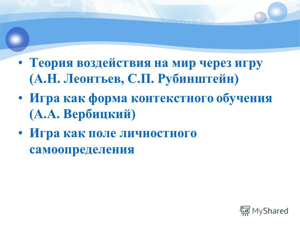 Теория воздействия на мир через игру (А.Н. Леонтьев, С.П. Рубинштейн) Игра как форма контекстного обучения (А.А. Вербицкий) Игра как поле личностного самоопределения