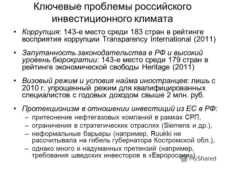 Ключевые проблемы российского инвестиционного климата Коррупция: 143-е место среди 183 стран в рейтинге восприятия коррупции Transparency International (2011) Запутанность законодательства в РФ и высокий уровень бюрократии: 143-е место среди 179 стра