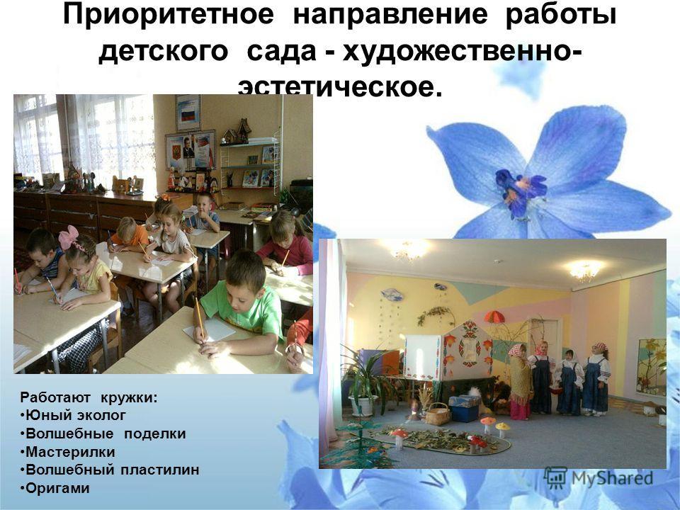 Приоритетное направление работы детского сада - художественно- эстетическое. Работают кружки: Юный эколог Волшебные поделки Мастерилки Волшебный пластилин Оригами