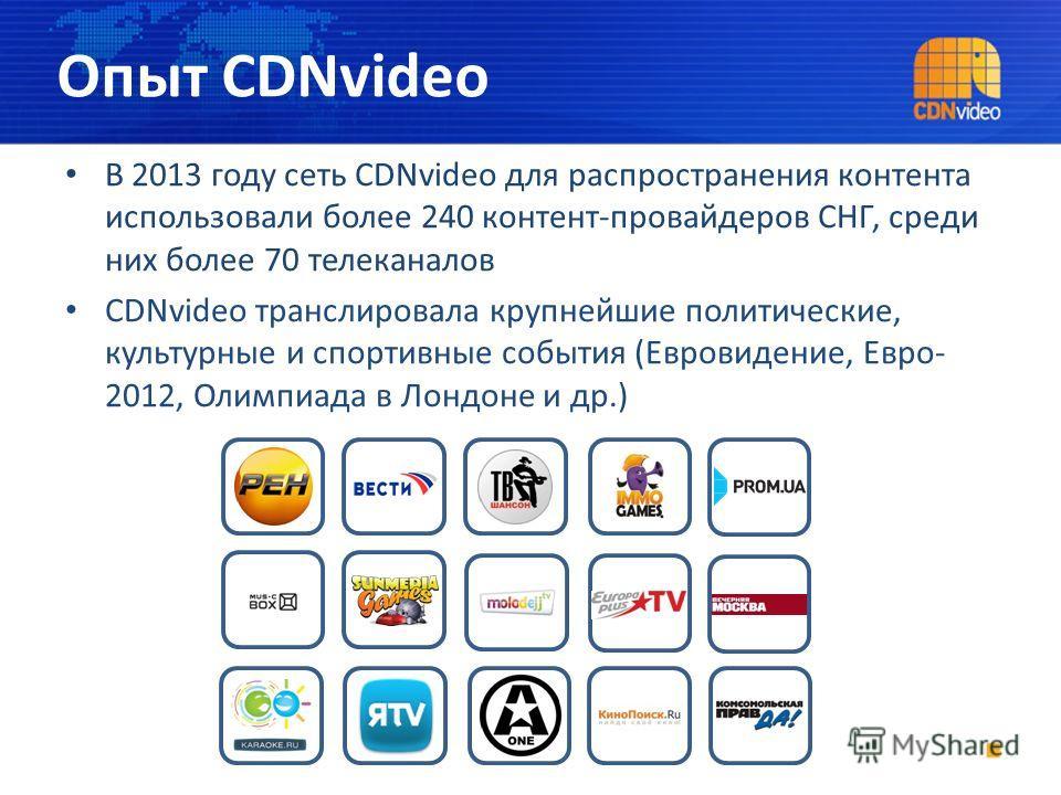 В 2013 году сеть CDNvideo для распространения контента использовали более 240 контент-провайдеров СНГ, среди них более 70 телеканалов CDNvideo транслировала крупнейшие политические, культурные и спортивные события (Евровидение, Евро- 2012, Олимпиада