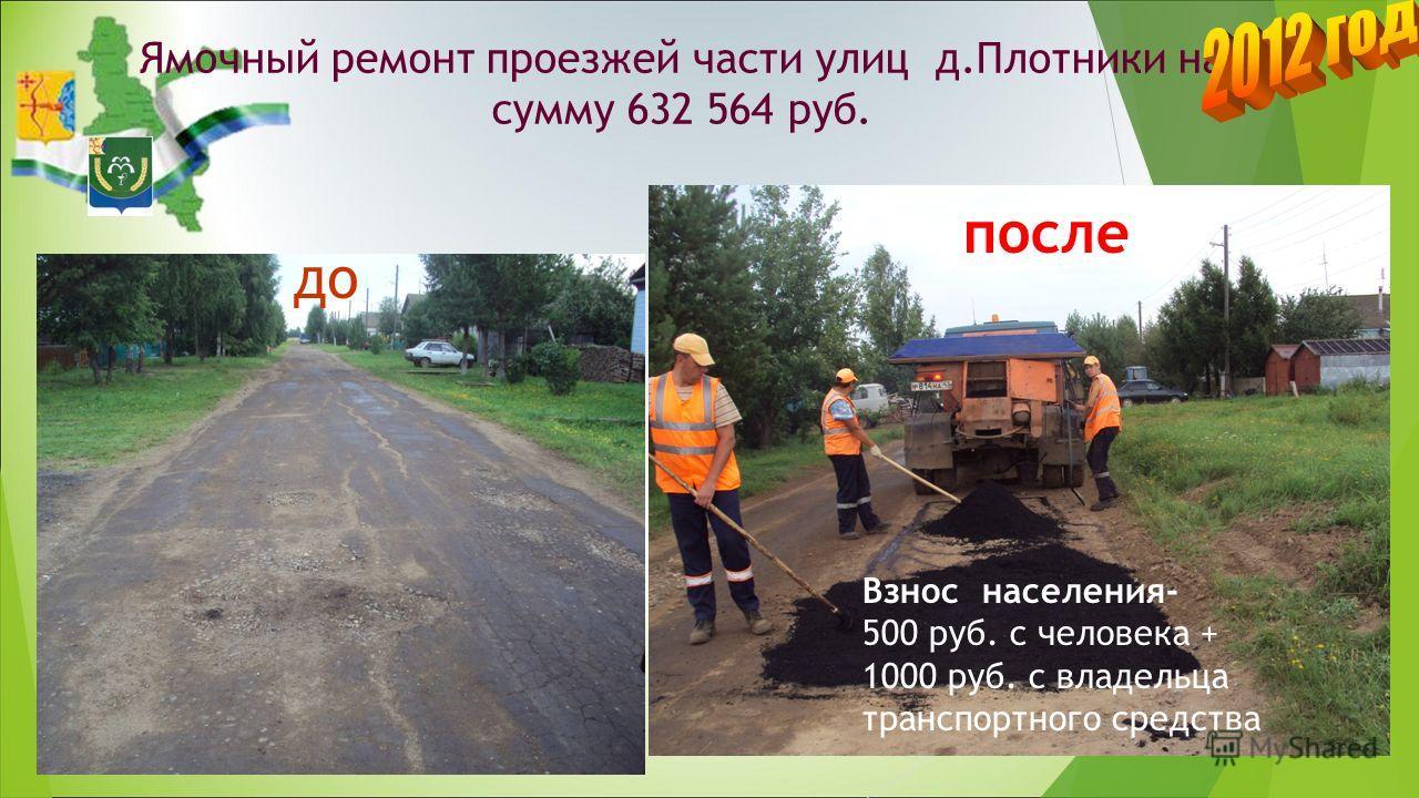 Ямочный ремонт проезжей части улиц д.Плотники на сумму 632 564 руб. до Взнос населения- 500 руб. с человека + 1000 руб. с владельца транспортного средства после