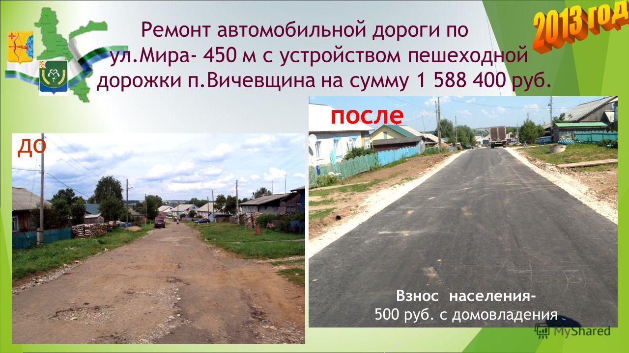 Ремонт автомобильной дороги по ул.Мира- 450 м с устройством пешеходной дорожки п.Вичевщина на сумму 1 588 400 руб. до Взнос населения- 500 руб. с домовладения после