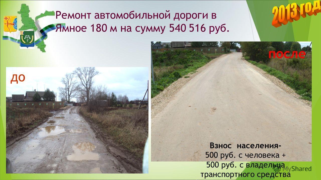 Ремонт автомобильной дороги в д. Ямное 180 м на сумму 540 516 руб. до после Взнос населения- 500 руб. с человека + 500 руб. с владельца транспортного средства
