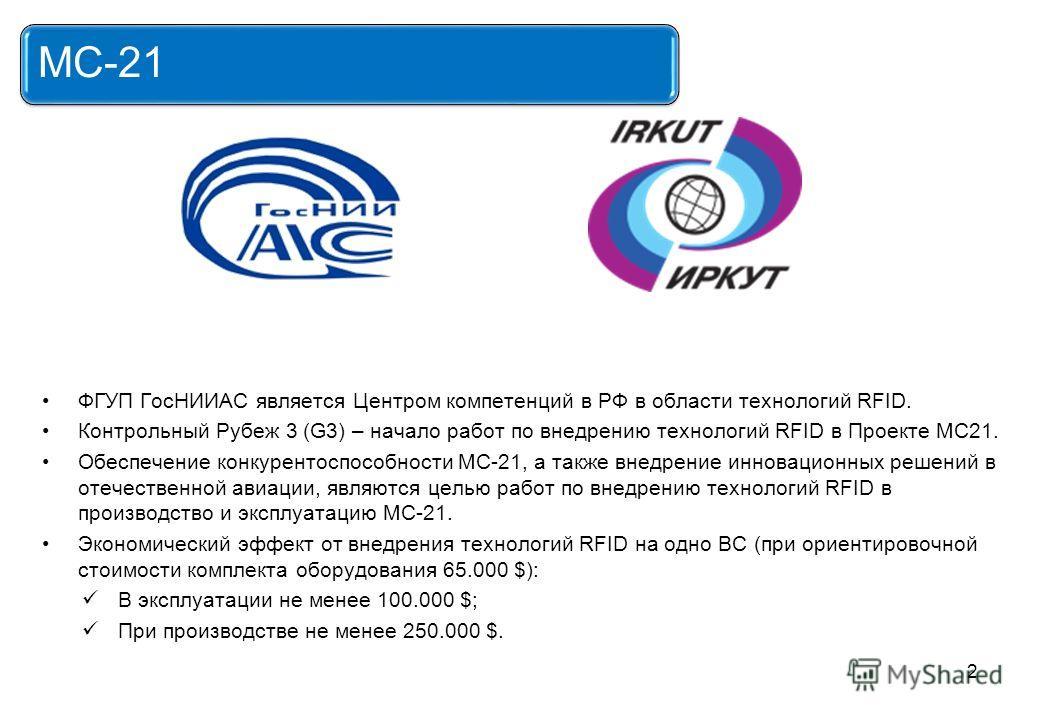 ФГУП ГосНИИАС является Центром компетенций в РФ в области технологий RFID. Контрольный Рубеж 3 (G3) – начало работ по внедрению технологий RFID в Проекте МС21. Обеспечение конкурентоспособности МС-21, а также внедрение инновационных решений в отечест