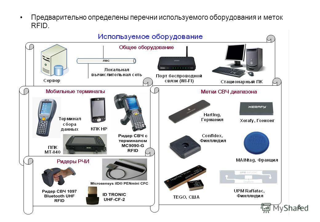 Предварительно определены перечни используемого оборудования и меток RFID. 6