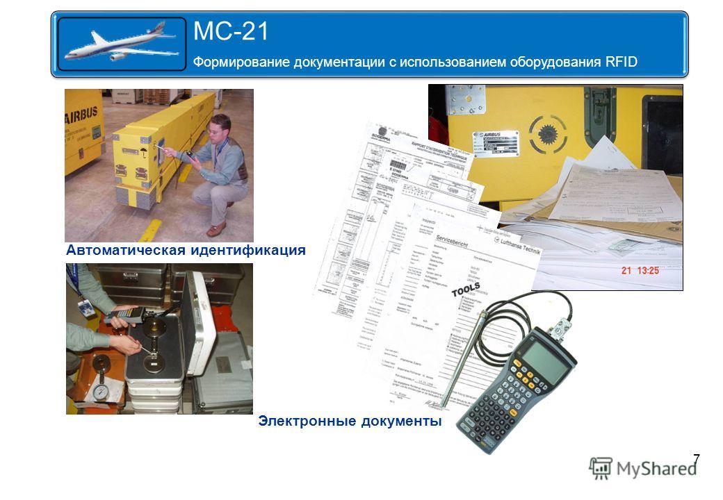 7 Автоматическая идентификация Электронные документы MS-21 Формирование сопровождающей документации с использованием оборудования К MC-21 Формирование документации с использованием оборудования RFID