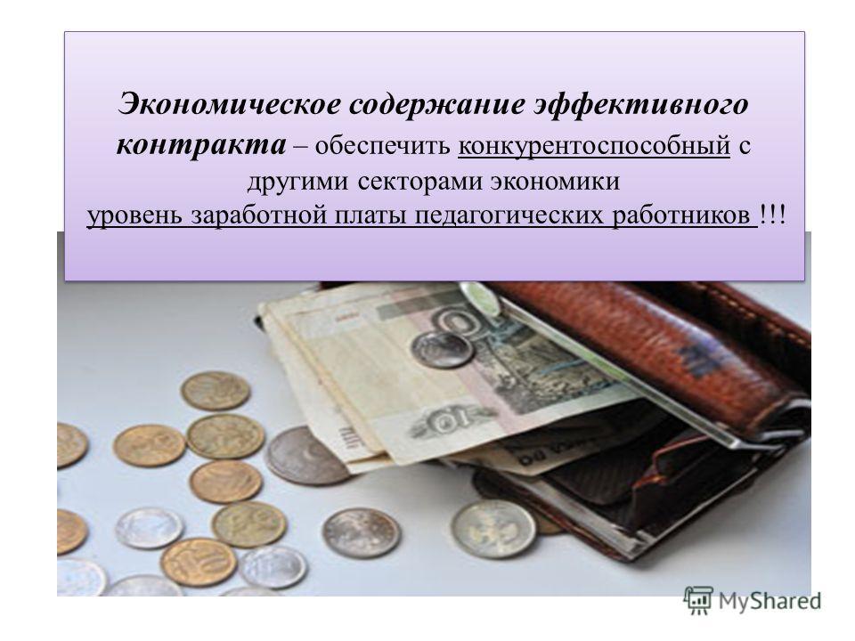 Экономическое содержание эффективного контракта – обеспечить конкурентоспособный с другими секторами экономики уровень заработной платы педагогических работников !!! Экономическое содержание эффективного контракта – обеспечить конкурентоспособный с д