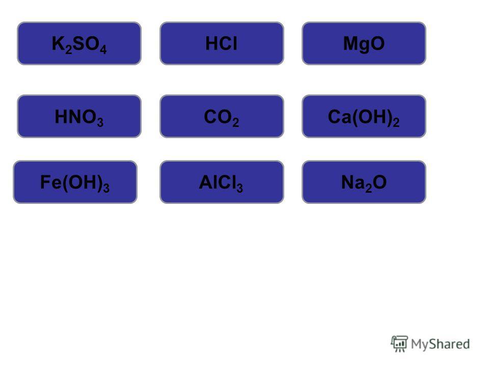 СолиКислотыОксиды Кислоты Основания Оксиды Соли Основания Оксиды K 2 SO 4 HClMgO HNO 3 CO 2 Ca(OH) 2 Fe(OH) 3 AlCl 3 Na 2 O