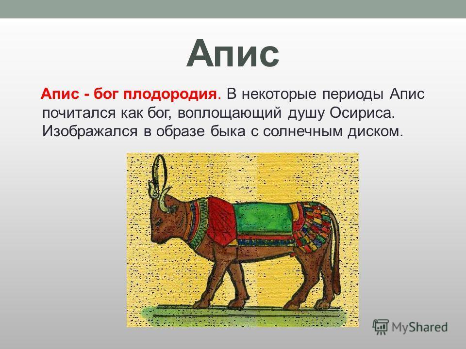 Апис Апис - бог плодородия. В некоторые периоды Апис почитался как бог, воплощающий душу Осириса. Изображался в образе быка с солнечным диском.