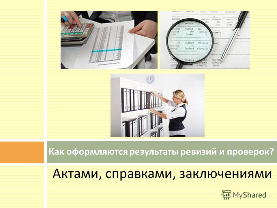 Актами, справками, заключениями Как оформляются результаты ревизий и проверок ?