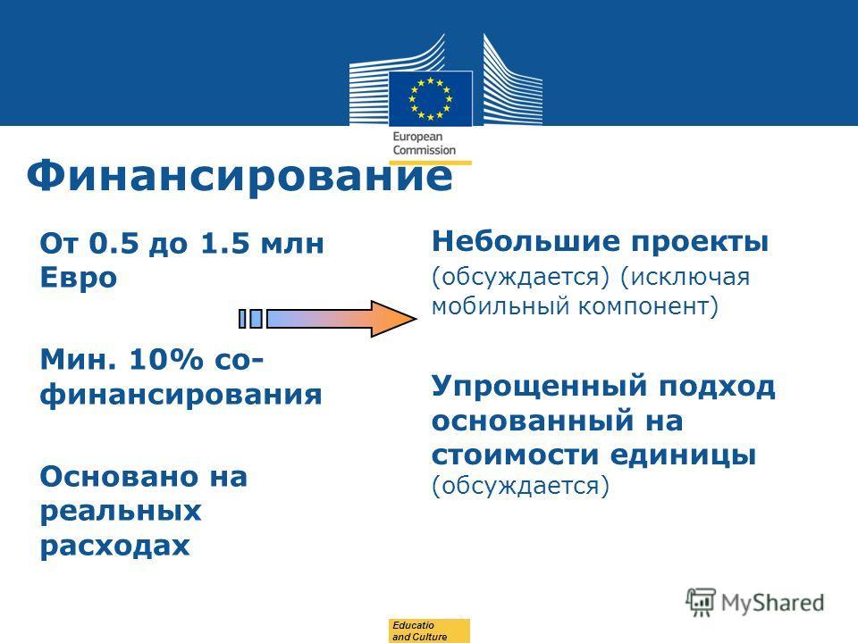 Date: in 12 pts Финансирование От 0.5 до 1.5 млн Евро Мин. 10% со- финансирования Основано на реальных расходах Небольшие проекты (обсуждается) (исключая мобильный компонент) Упрощенный подход основанный на стоимости единицы (обсуждается) Educatio an