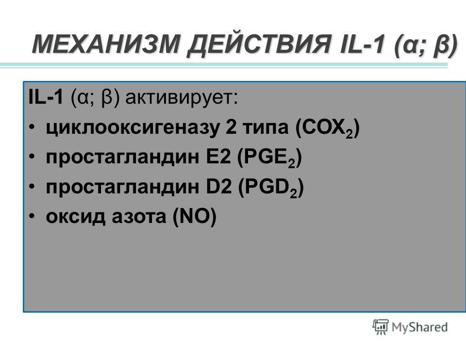 МЕХАНИЗМ ДЕЙСТВИЯ IL-1 (α; β) IL-1 (α; β) активирует: циклооксигеназу 2 типа (СОХ 2 ) простагландин Е2 (PGE 2 ) простагландин D2 (PGD 2 ) оксид азота (NO)