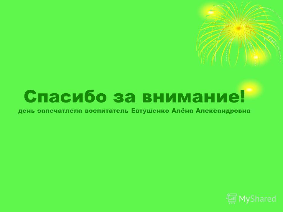 Спасибо за внимание! день запечатлела воспитатель Евтушенко Алёна Александровна