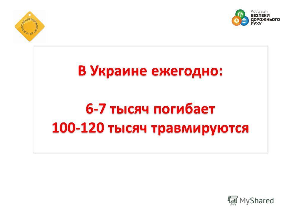 В Украине ежегодно: 6-7 тысяч погибает 100-120 тысяч травмируются В Украине ежегодно: 6-7 тысяч погибает 100-120 тысяч травмируются