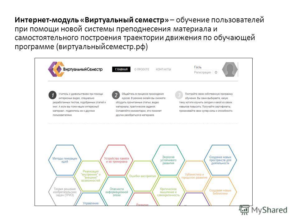 Интернет-модуль «Виртуальный семестр» – обучение пользователей при помощи новой системы преподнесения материала и самостоятельного построения траектории движения по обучающей программе (виртуальныйсеместр.рф)