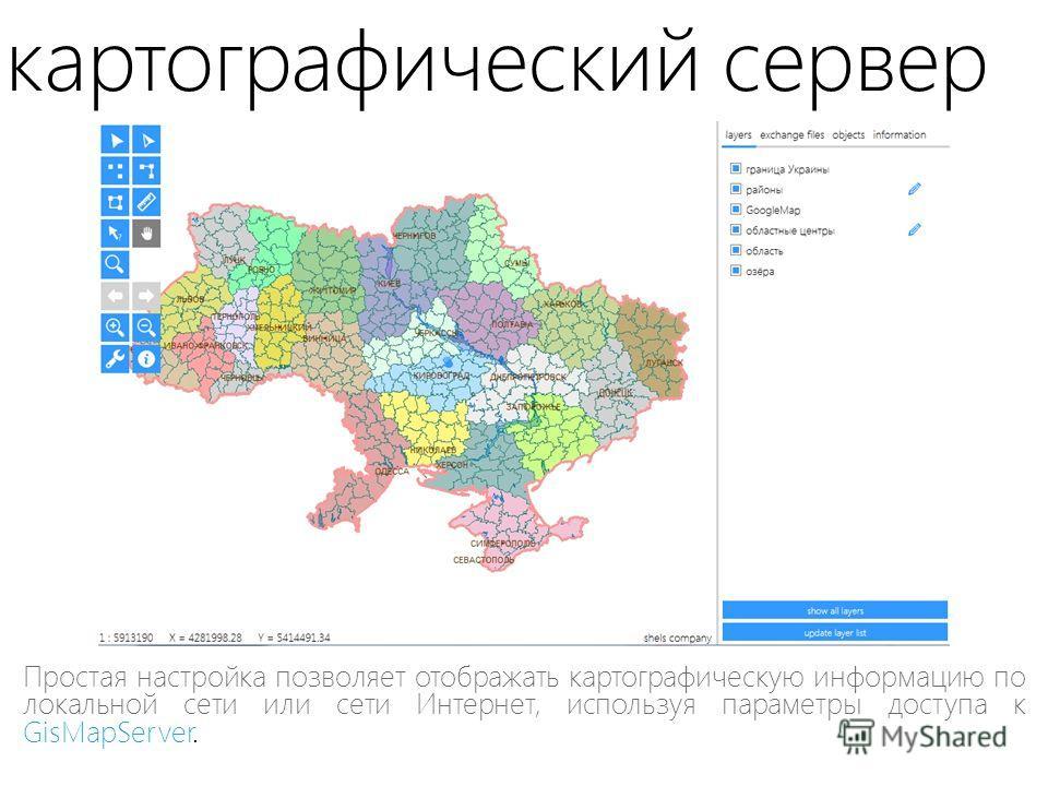 картографический сервер Простая настройка позволяет отображать картографическую информацию по локальной сети или сети Интернет, используя параметры доступа к GisMapServer.