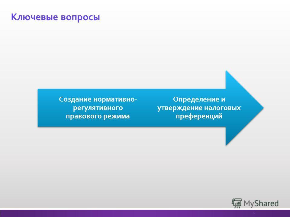 Ключевые вопросы Определение и утверждение налоговых преференций Создание нормативно- регулятивного правового режима 12
