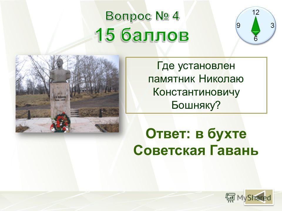 12 9 3 6 Где установлен памятник Николаю Константиновичу Бошняку? Ответ: в бухте Советская Гавань