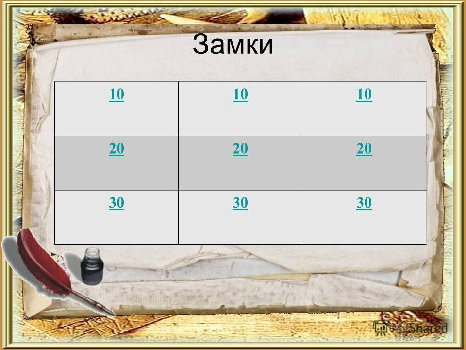 Замки 10 20 30