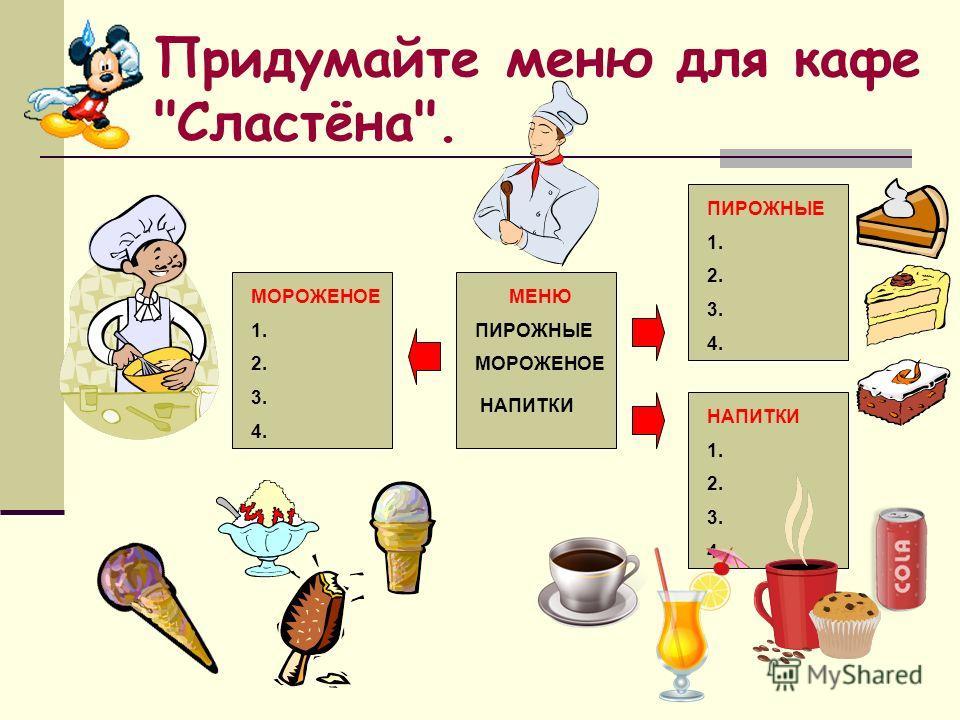 Придумайте меню для кафе Сластёна. МОРОЖЕНОЕ 1. 2. 3. 4. МЕНЮ ПИРОЖНЫЕ МОРОЖЕНОЕ НАПИТКИ 1. 2. 3. 4. ПИРОЖНЫЕ 1. 2. 3. 4.