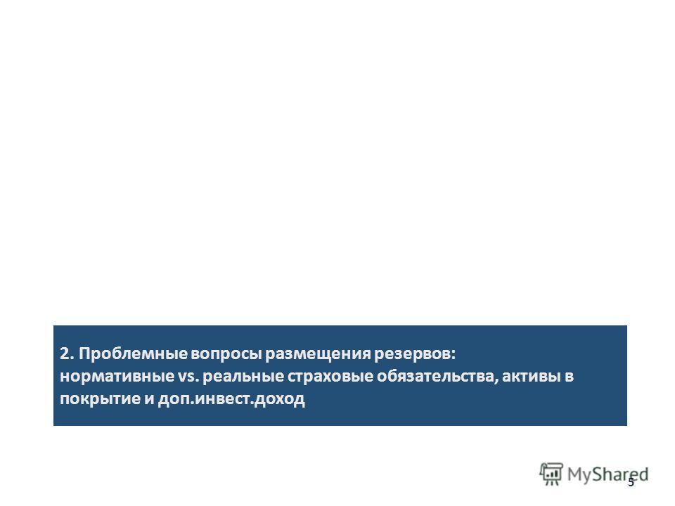 2. Проблемные вопросы размещения резервов: нормативные vs. реальные страховые обязательства, активы в покрытие и доп.инвест.доход 5