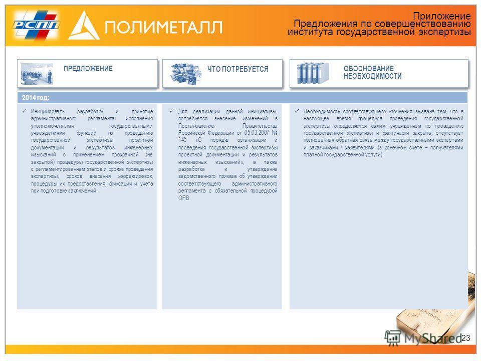 Приложение Предложения по совершенствованию института государственной экспертизы ПРЕДЛОЖЕНИЕ ЧТО ПОТРЕБУЕТСЯ ОБОСНОВАНИЕ НЕОБХОДИМОСТИ 2014 год: Инициировать разработку и принятие административного регламента исполнения уполномоченными государственны