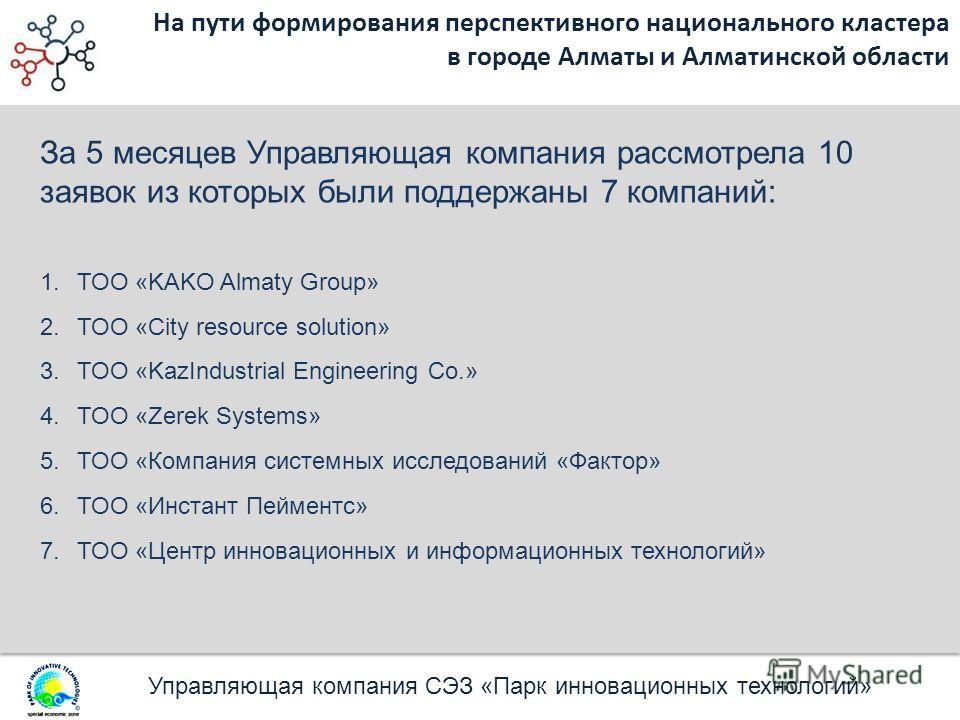 Управляющая компания СЭЗ «Парк инновационных технологий» На пути формирования перспективного национального кластера в городе Алматы и Алматинской области За 5 месяцев Управляющая компания рассмотрела 10 заявок из которых были поддержаны 7 компаний: 1