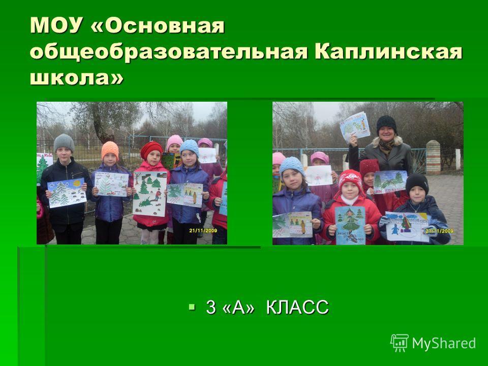 МОУ «Основная общеобразовательная Каплинская школа» 3 «А» КЛАСС 3 «А» КЛАСС