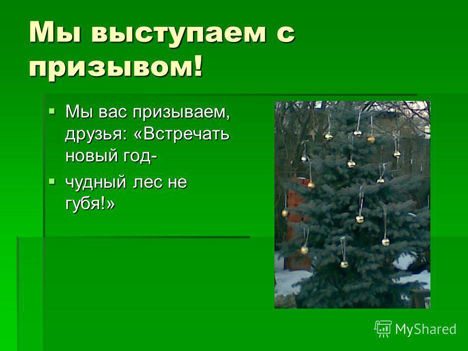 Мы выступаем с призывом! Мы вас призываем, друзья: «Встречать новый год- Мы вас призываем, друзья: «Встречать новый год- чудный лес не губя!» чудный лес не губя!»