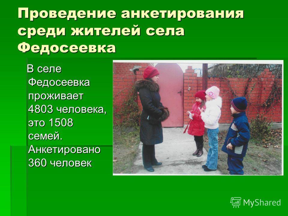 В селе Федосеевка проживает 4803 человека, это 1508 семей. Анкетировано 360 человек В селе Федосеевка проживает 4803 человека, это 1508 семей. Анкетировано 360 человек Проведение анкетирования среди жителей села Федосеевка