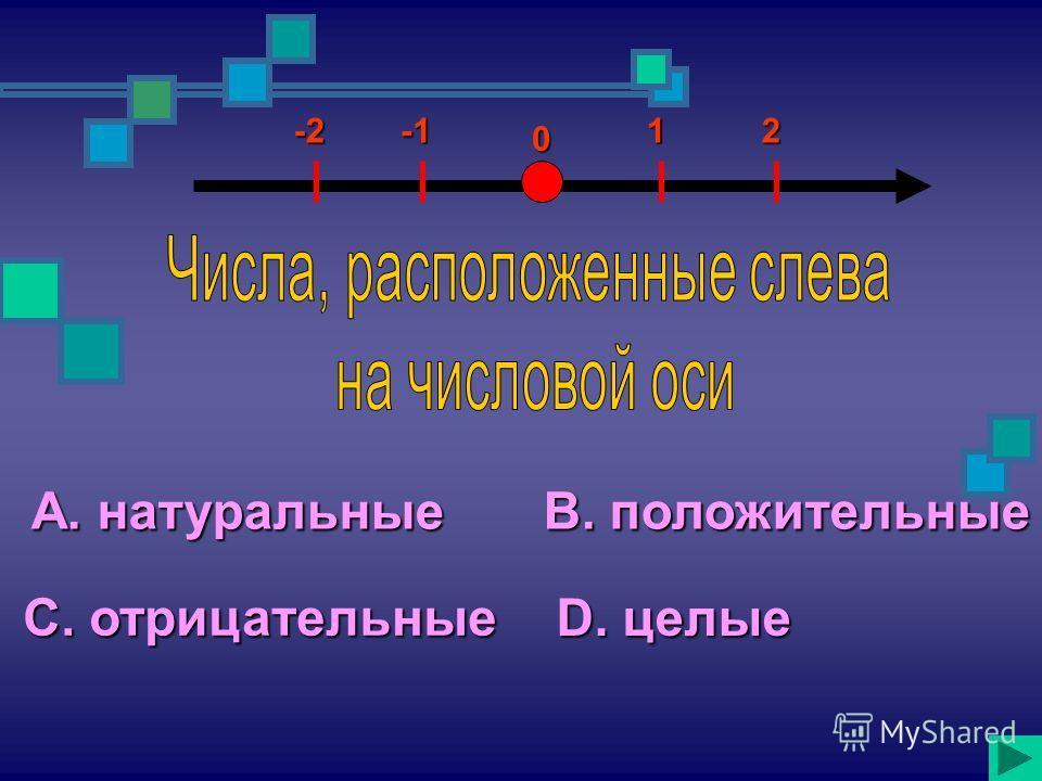 А. натуральные С. отрицательные В. положительные D. целые 12-2 0