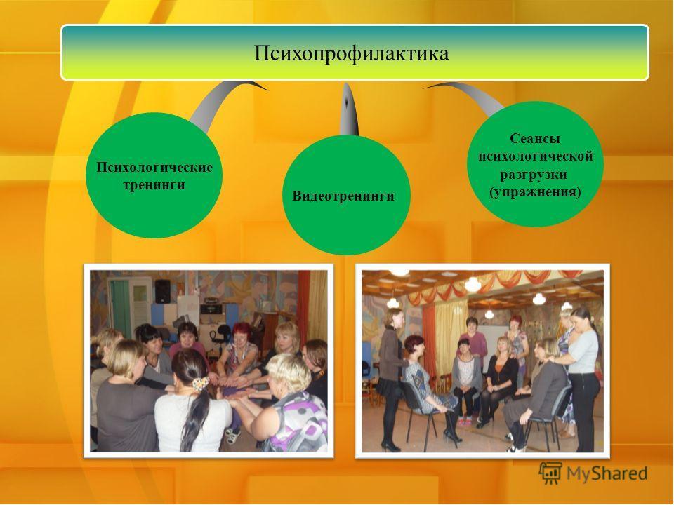 Психологические тренинги Видеотренинги Сеансы психологической разгрузки (упражнения) Психопрофилактика