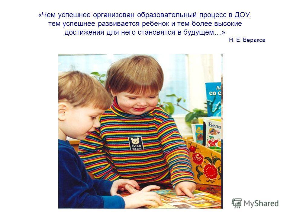 «Чем успешнее организован образовательный процесс в ДОУ, тем успешнее развивается ребенок и тем более высокие достижения для него становятся в будущем…» Н. Е. Веракса
