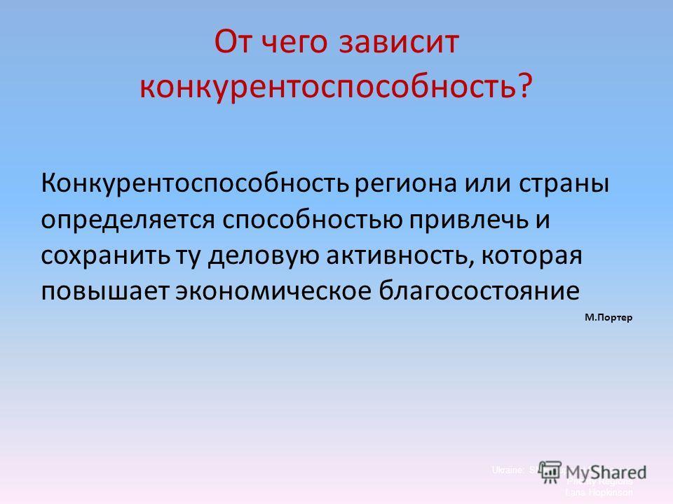 От чего зависит конкурентоспособность? Конкурентоспособность региона или страны определяется способностью привлечь и сохранить ту деловую активность, которая повышает экономическое благосостояние М.Портер Ukraine: SME Support Services in Priority Reg